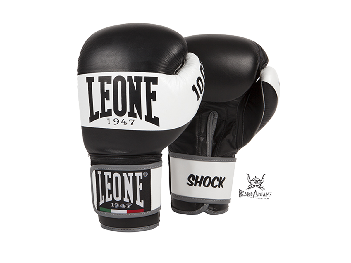 gants de boxe leone 1947 shock noir cuir. Black Bedroom Furniture Sets. Home Design Ideas