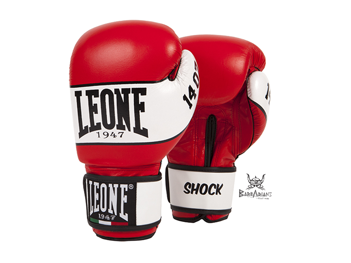 gant de boxe leone 1947 shock rouge cuir. Black Bedroom Furniture Sets. Home Design Ideas