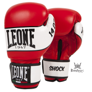 """Gant de boxe Leone 1947 """"Shock"""" rouge cuir"""