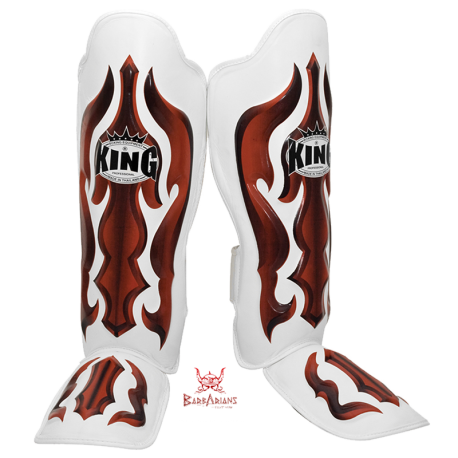 "King shinguards \""Fantasy 3\\"" white and red Skintex images, photos, pictures on Shinguards SG-TK-FA01"