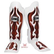 "King shinguards ""Fantasy 3"" white and red Skintex"