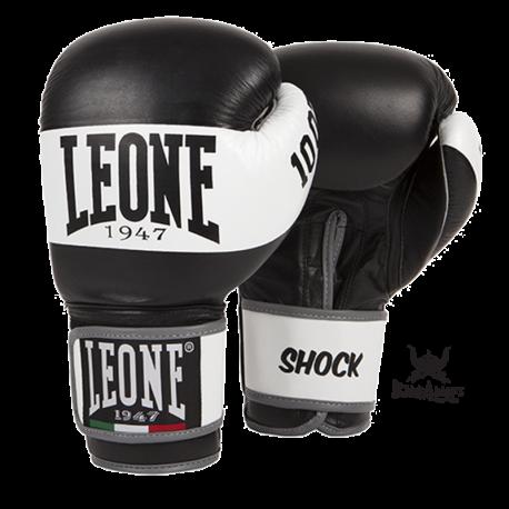 """Photo de Gant de boxe Leone 1947 \\""""Shock\\"""" noir cuir pour Gant de Boxe GN047"""