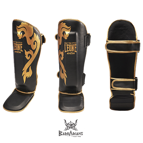 "Leone 1947 Shinguards \""Muay Thaï\\"" Black images, photos, pictures on Shinguards PT118"