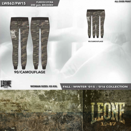 Leone 1947 Woman fleece pants cotton camouflage green. images, photos, pictures on Old Collection LW862