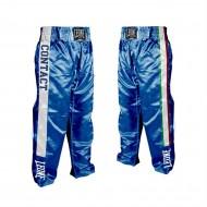 """Photo de Pantalon Full-contact Leone 1947 \\""""Italy\\"""" Bleu Satin pour Pantalon Kickboxing  AB758"""