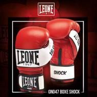 """Photo de Gant de boxe Leone 1947 \\""""Shock\\"""" rouge cuir pour Gant de Boxe GN047"""
