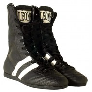 100% cuir & made in Italy chaussure de boxe noir Leone 1947
