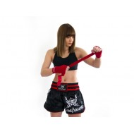 "Photo de Short Thaï Barbarians Fight Wear \""The Barbarians\\"" noir et argent pour short kick boxing 