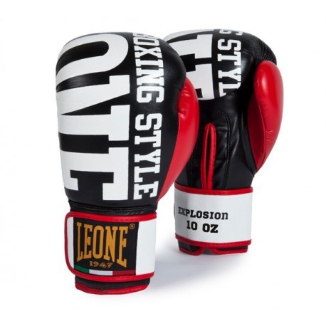 "Leone 1947 boxing gloves \""Explosion\\"" black leather images, photos, pictures on Boxing Gloves GN055-03"