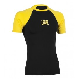 Leone 1947 rashguard black yellow short sleeve