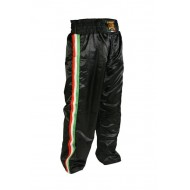 "Leone 1947 Kick-boxing tousers \""Italy\\"" black Satin images, photos, pictures on Full contact & Kick boxing trousers AB757"