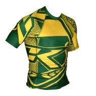 Contract Killer Short Sleeve Brazil Rashguard Green and Yellow images, photos, pictures on MMA Rashguards CKBZRS