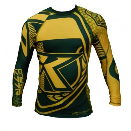 "Contract Killer \""Brazil\\"" Rashguard Long Sleeve Yellow images, photos, pictures on MMA Rashguards CKBZRL"