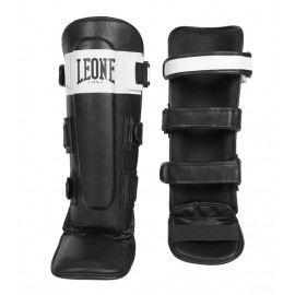 "Leone 1947 Shinguards ""Shock"" black and white leather"